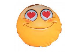 Housse de coussin Smiley Love ronde et blanche Ø 40 cm (vendu à l'unité)