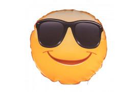 Housse de coussin Smiley Cool ronde et blanche Ø 40 cm (vendu à l'unité)