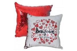 Housse de coussin rouge 40 x 40 cm à sequins réversibles blancs pour sublimation (vendu à l'unité)