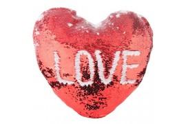 Housse de coussin coeur rouge 39 x 44 cm à sequins réversibles blancs pour sublimation (vendu à l'unité)