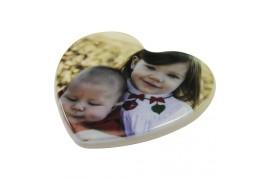 Magnet blanc en polymère (plastique incassable) format coeur (vendu à l'unité)