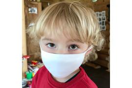 Masque respiratoire enfant en tissu blanc 100% polyester - Taille jusqu'à 4 ans (vendu à l'unité)