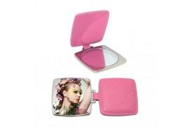 Miroir de poche carré rose personnalisable en sublimation