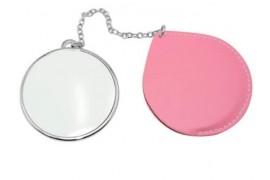 Miroir de poche rond rose personnalisable en sublimation (vendu à l'unité)