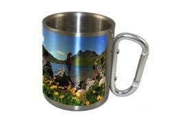 Mug en inox Ø 9 cm hauteur 7,9 cm avec mousqueton argent