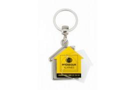"""Lot de 100 porte-clés métalliques """"MY-D"""" maison 2 faces"""