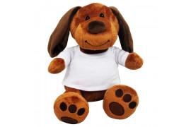 Peluche Chien marron H 18 cm avec mini tee-shirt pour sublimation (vendu à l'unité)