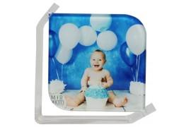 Cadre photo en verre lisse support transparent 15 x 15 cm