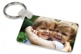 Porte-clé aluminium blanc brillant rectangulaire 4 x 5,7 cm (vendu à l'unité)