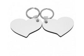 Porte-clé en MDF blanc brillant 2 coeurs 6,8 x 4,8 cm (vendu à l'unité)