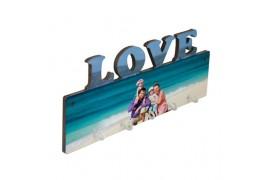 Panneau porte-clés mural LOVE MDF 27,5 x 10 cm avec 5 crochets (vendu à l'unité)