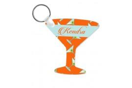 Porte-clé en MDF blanc brillant verre à cocktail