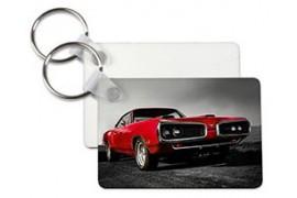 Porte-clé en MDF blanc brillant rectangle marquage recto/verso (vendu à l'unité)