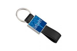 Porte-clé simili cuir carré avec plaque aluminium