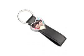 Porte-clé simili cuir coeur avec plaque aluminium (vendu à l'unité)