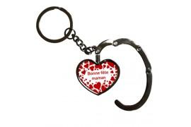 Porte-clé accroche sac pliable forme coeur (vendu à l'unité)