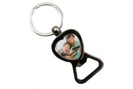 Porte-clé en métal argent brillant décapsuleur forme coeur (vendu à l'unité)