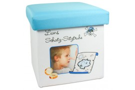 Pouf de rangement pliable pour enfant 22 x 22 x 24 cm avec couvercle bleu
