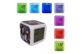 Réveil cube lumineux éclairage led avec 3 plaques sublimables (vendu à l'unité)