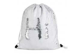 Sac à dos blanc 36 x 45 cm à sequins réversibles argentés pour sublimation (vendu à l'unité)