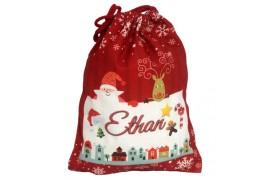 Sac de Noël en toile de chanvre rouge 30 x 40 cm pour sublimation (vendu à l'unité)