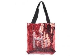 Sac shopping rouge 35 x 38 cm à sequins réversibles argentés pour sublimation (vendu à l'unité)
