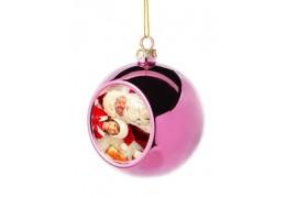 Boule de Noël Ø6 cm coloris rose à suspendre avec plaque sublimable (vendu à l'unité)