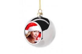 Boule de Noël Ø6 cm coloris argent à suspendre avec plaque sublimable (vendu à l'unité)