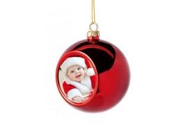 Boule de Noël Ø6 cm coloris rouge à suspendre avec plaque sublimable (vendu à l'unité)