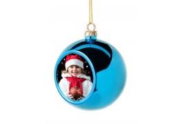 Boule de Noël Ø6 cm coloris bleu à suspendre avec plaque sublimable (vendu à l'unité)