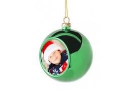 Boule de Noël Ø 8 cm coloris verte à suspendre avec plaque sublimable