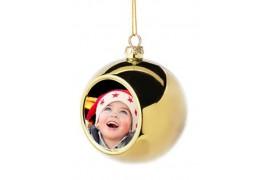 Boule de Noël Ø6 cm coloris or à suspendre avec plaque sublimable (vendu à l'unité)