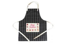 Tablier de cuisine à carreaux en coton naturel avec poche en lin sublimable (vendu à l'unité)
