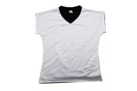 Tee-shirt femme toucher satin mat avec dos noir
