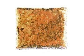 Trousse coloris or 20,5 x 16 cm à sequins réversibles argentés pour sublimation (vendu à l'unité)