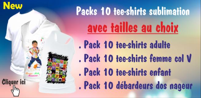 Packs 10 tee-shirts avec tailles au choix